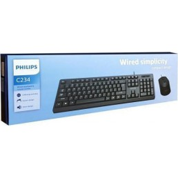 PHILIPS σετ ποντίκι & πληκτρολόγιο SPT6234, ενσύρματο, μαύρο