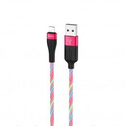 Καλώδιο σύνδεσης Hoco U85 Charming night USB σε Lightning 2.4A Φωσφορίζον Κόκκινο 1μ.