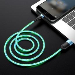 Καλώδιο σύνδεσης Hoco U85 Charming night USB σε Micro-USB 2.4A Φωσφορίζον Μπλε 1μ.