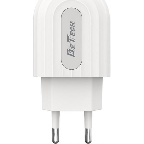 De Tech USB Wall Adapter Λευκό (DE-28)