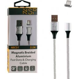 NSP USB ΦΟΡΤΙΣΗΣ-DATA MAGNETIC BRAIDED NSC01 3.5A QC 2.0 1m SILVER