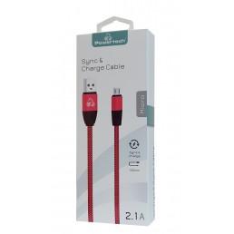 POWERTECH Καλώδιο USB σε Micro USB eco flat PTR-0034 copper 1m, κόκκινο