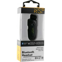 NSP BLUETOOTH BN218 RETRACTABLE CLIP ON HEADSET V4.2 (2 ΣΥΣΚ) VIBRATION + ANTI-LOST BLACK
