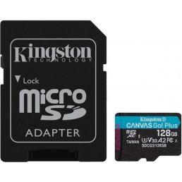KINGSTON SDCG3/128GB CANVAS GO PLUS 128GB MICRO SDXC CLASS 10 UHS-I U3 V30 A2 + SD ADAPTER
