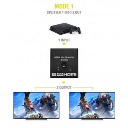 POWERTECH HDMI Bi-Directional switch 2 σε 1, 4K x 2K & 3D, μαύρο