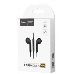 Hands Free Hoco M55 Earphones Stereo 3.5 mm Μαύρα με Μικρόφωνο και Πλήκτρο Λειτουργίας