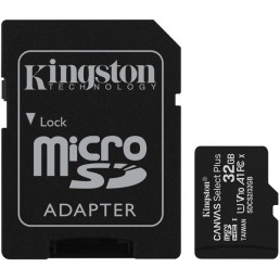 KINGSTON SDCS2/32GB CANVAS SELECT PLUS 32GB MICRO SDHC 100R A1 C10 CARD + SD ADAPTER