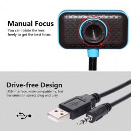 Επιτραπέζια WebCamera USB με Μικρόφωνο Μαύρο-Μπλε