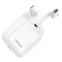USAMS earphones US-YA001 με θήκη φόρτισης, True Wireless, λευκά