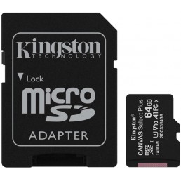 KINGSTON SDCS2/64GB CANVAS SELECT PLUS 64GB MICRO SDXC 100R A1 C10 CARD + SD ADAPTER