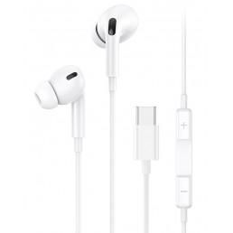 USAMS earphones με μικρόφωνο EP-41, USB Type-C, 10mm, 1.2m, λευκά