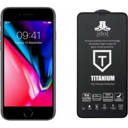 """IDOL 1991 TEMPERED GLASS IPHONE 8/7 4.7"""" 9H 0.25mm TITANIUM SEMI CURVED FULL GLUE BLACK"""