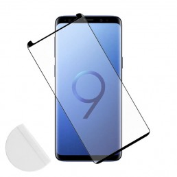 IDOL 1991 TEMPERED GLASS SAMSUNG S9+ G965 9H 0.30mm 3D FULL GLUE SEMI CURVED BLACK + SQUEEZY CARD